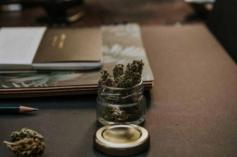 Cannabis on glass